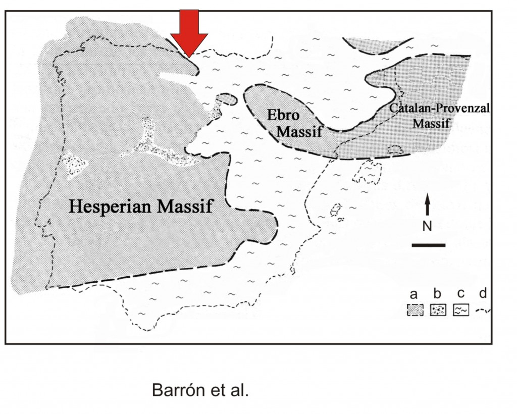 Paleogeografia de la peninsula Iberica en el Eoceno (Barron et al)